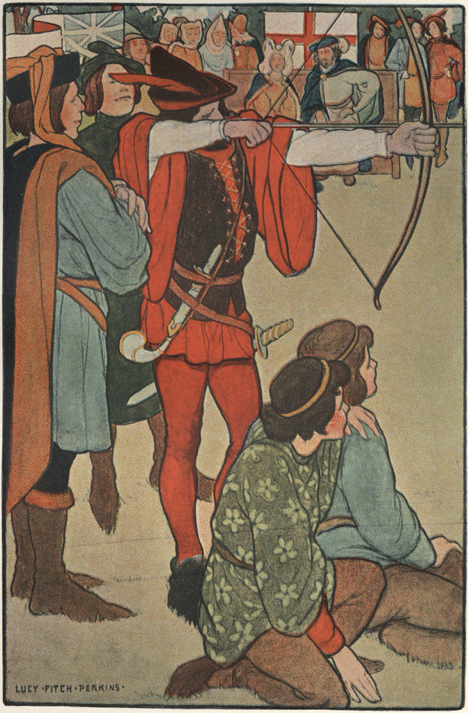 Illustration of Robin Hood Taking Aim