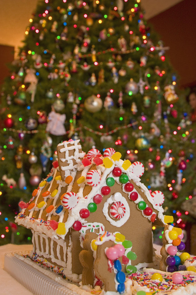 Detail of Gingerbread House and Christmas Tree by Corbis