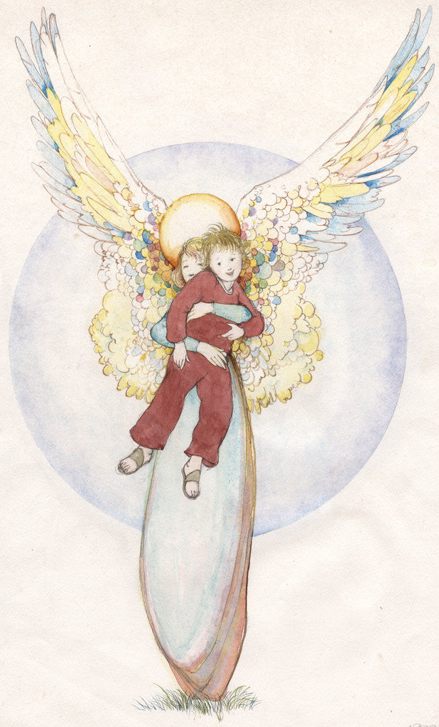 Detail of Illustration of an Angel Holding a Boy by Paul Cline