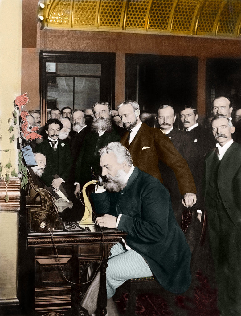 Detail of Alexander Graham Bell Making Telephone Call by Corbis