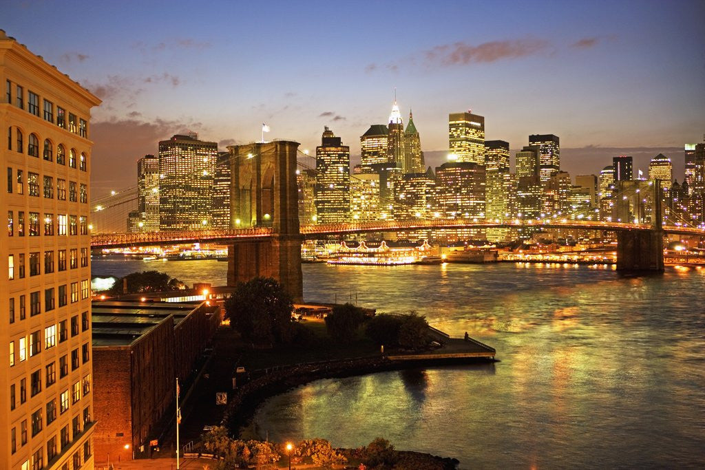 Detail of Brooklyn Bridge and Lower Manhattan From Brooklyn by Corbis