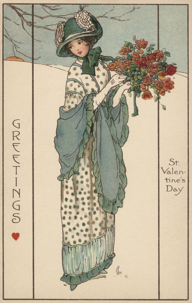 Detail of Greetings St. Valentines Day Postcard by Corbis