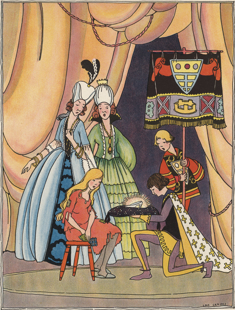 Illustration of the Prince with Cinderella's Glass Slipper by Lois Lenski