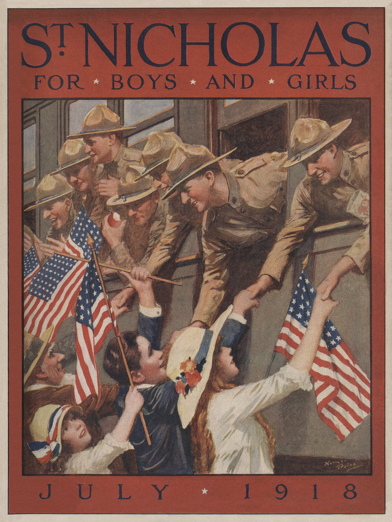Illustration of Children Greeting Soldiers on Train by Norman Price