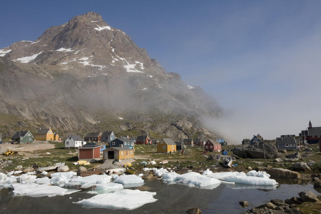 Detail of Aappilattoq Village and Mountain by Corbis