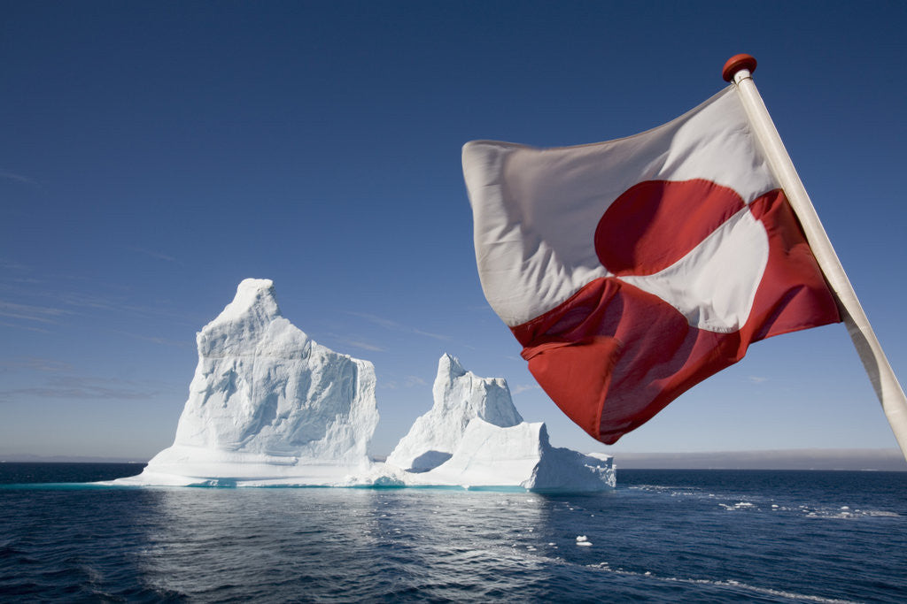 Detail of Greenland Flag on Arctic Umiaq Line Ferry by Corbis