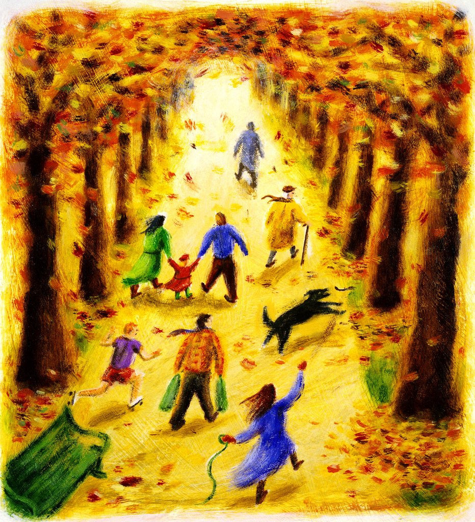 Detail of Autumn Stroll by Corbis
