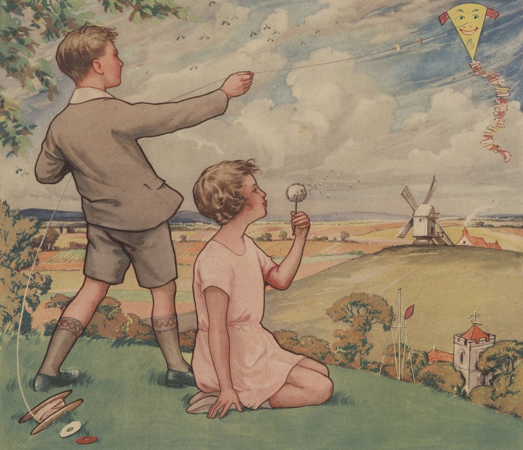 Detail of A Windy Day Illustration by Corbis