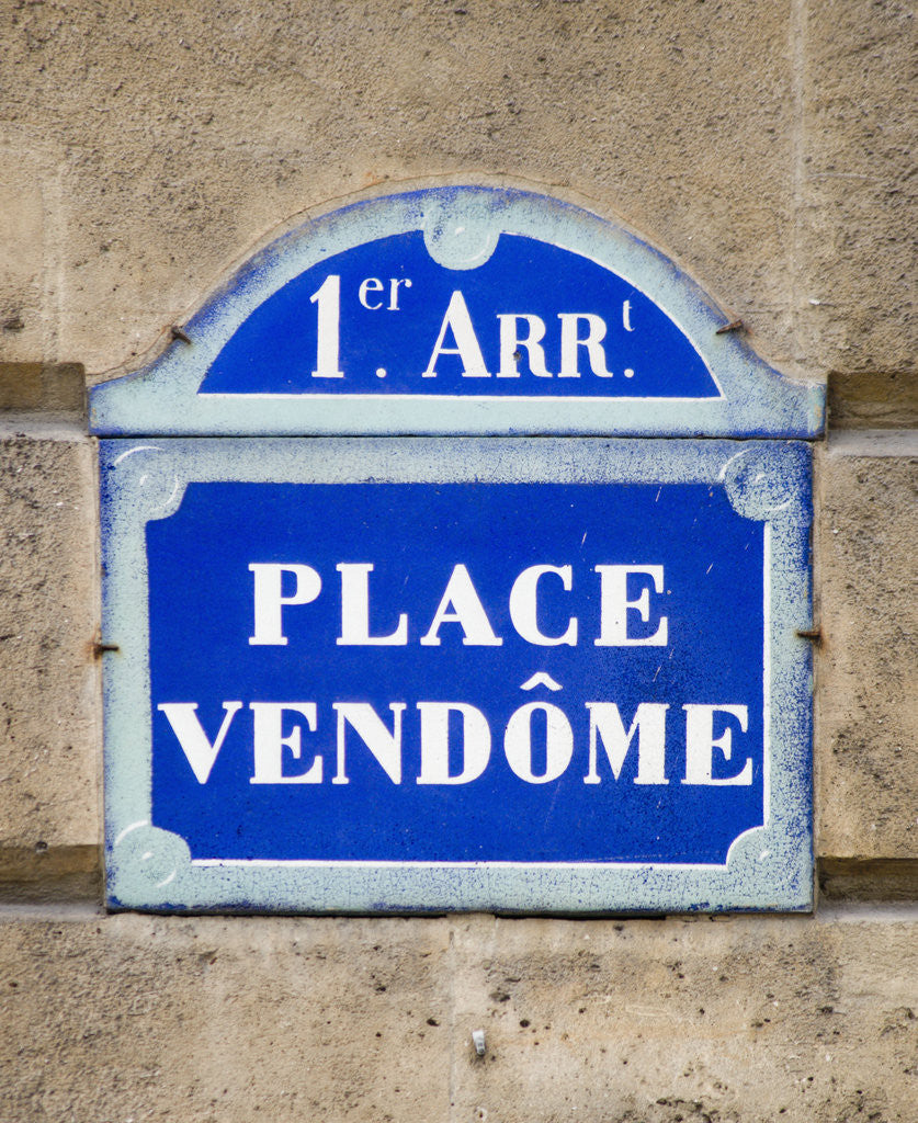 Detail of Address Sign on Place Vendome by Corbis
