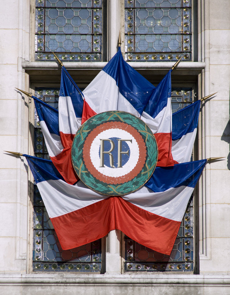 Detail of French Flags and Emblem by Corbis