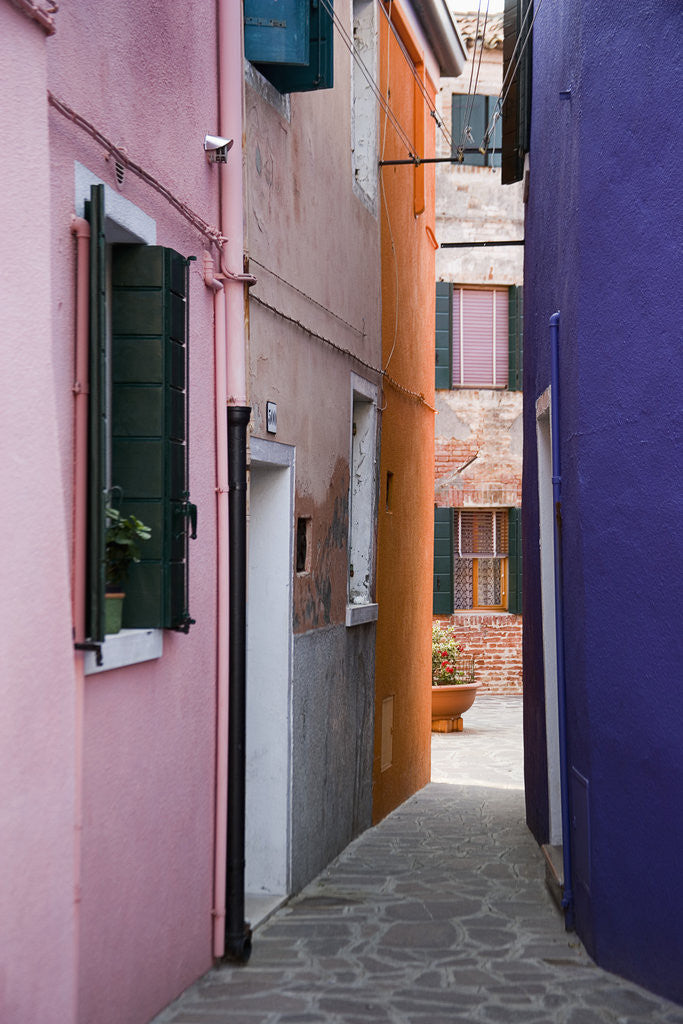 Detail of Brightly Colored Houses and Narrow Alley by Corbis
