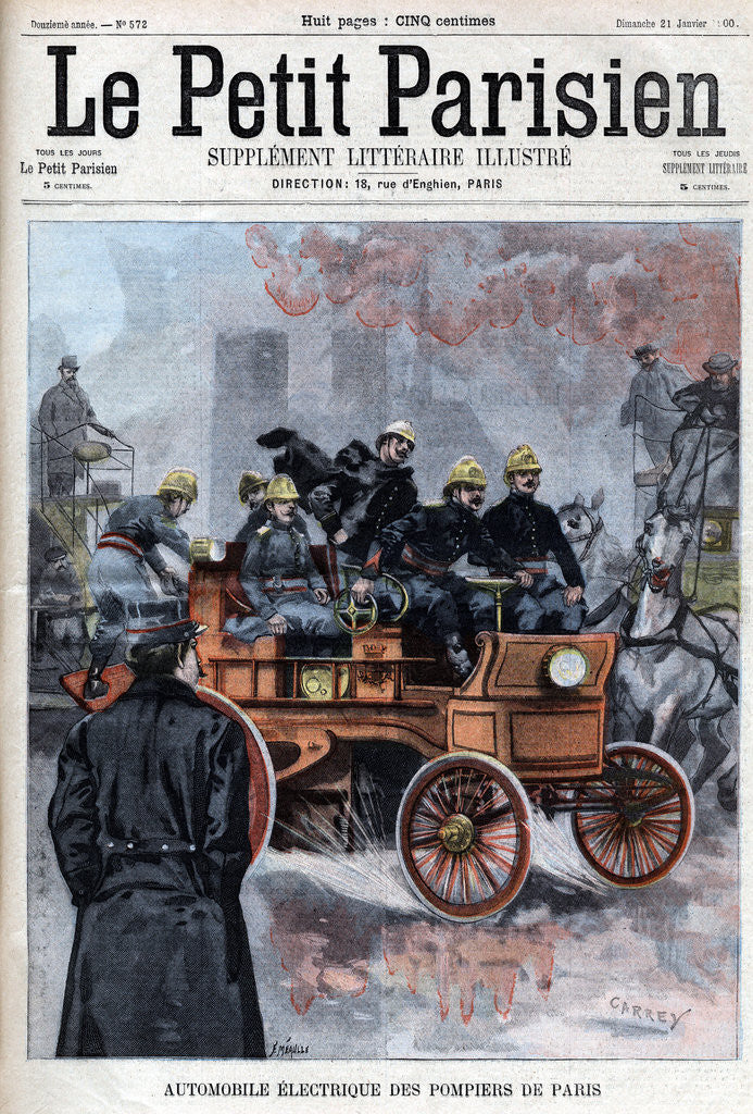 Detail of Illustration of French Firemen's Electric Automobile by Corbis