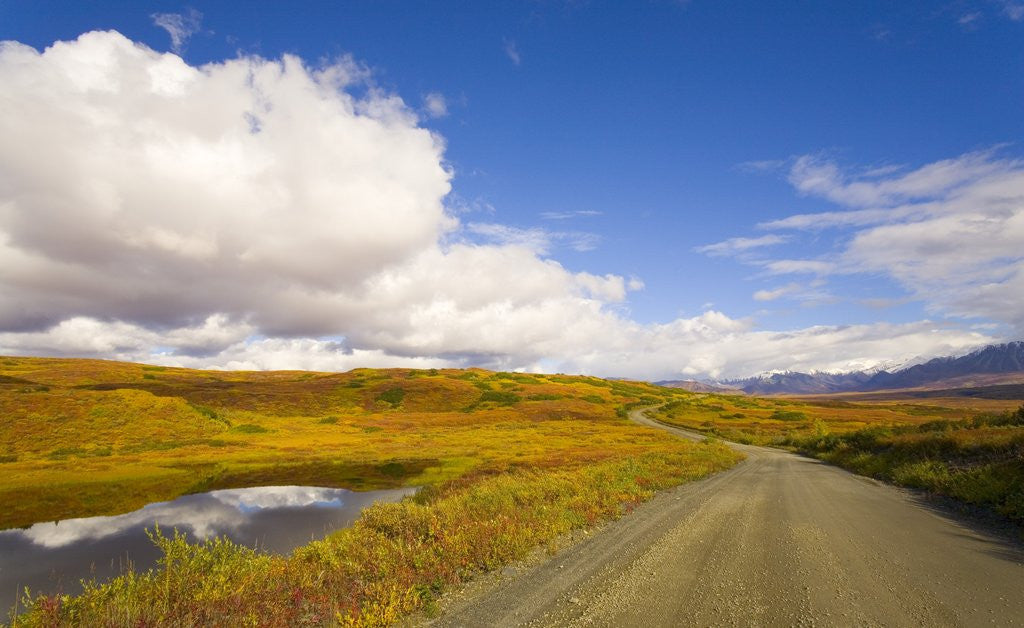 Detail of Clouds Above Autumn Tundra and Gravel Road in Alaska by Corbis