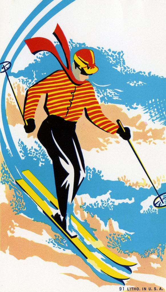 Detail of Broom Label of Skier on Ski Slope by Corbis