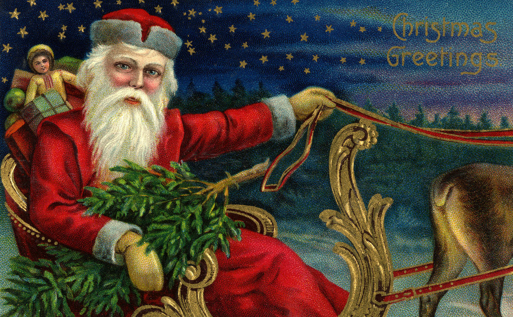 Detail of Christmas Greetings Postcard with Santa Claus Holding Reins by Corbis