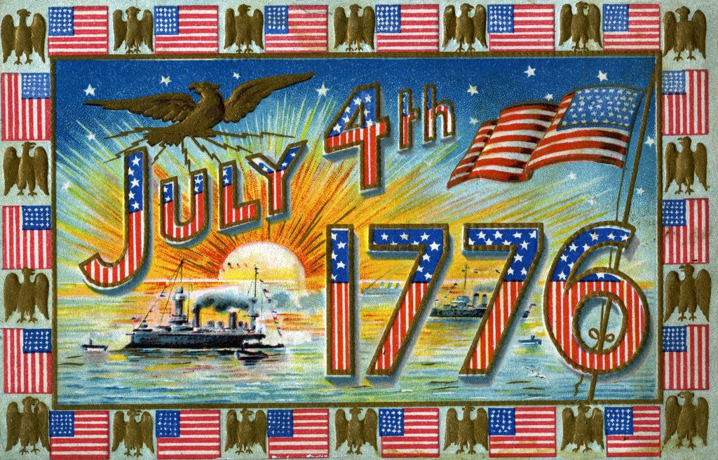 Detail of July 4th 1776 Postcard with Military Ships at Sunrise by Corbis