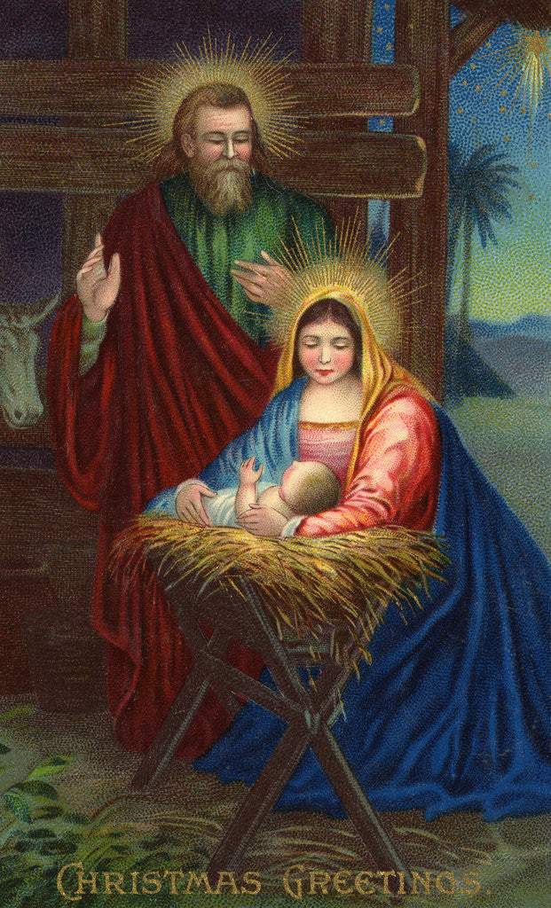 Detail of Christmas Greetings Postcard with Holy Family by Corbis