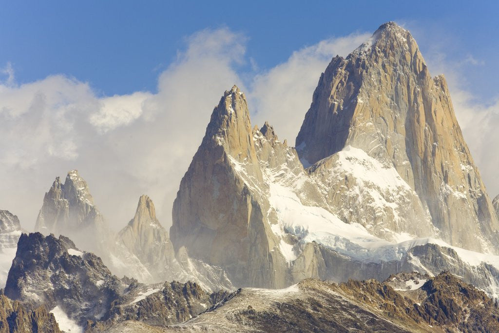 Detail of Fitzroy Massif and Cumulus Clouds by Corbis