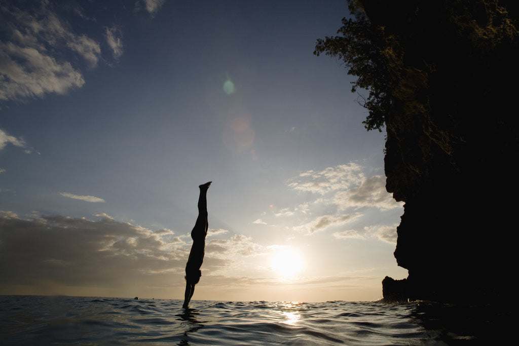 Detail of Diver Entering Sea at Pirate's Cave by Corbis