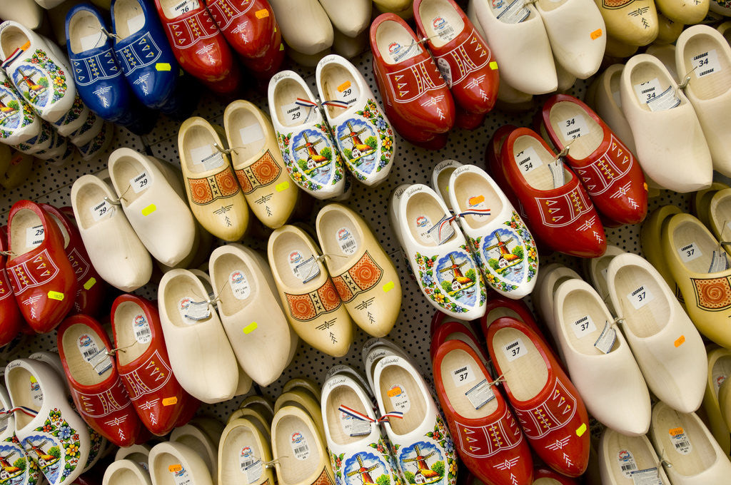 Detail of Wooden Shoes for Sale at Bloemenmarkt by Corbis