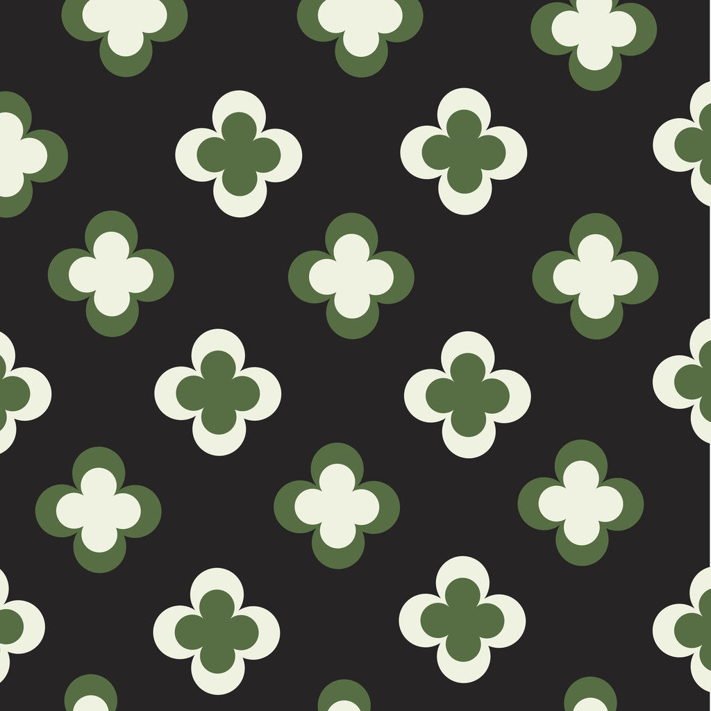 Detail of Green and White Clover Pattern by Corbis