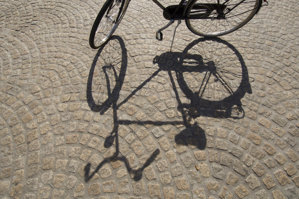 Detail of Bicycle Shadow on Cobblestone by Corbis