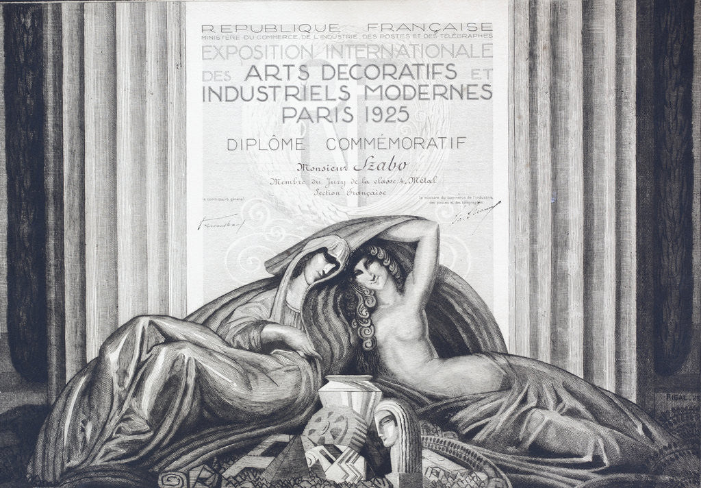 Detail of Commemorative Diploma from Paris Exhibition of 1925 by Corbis