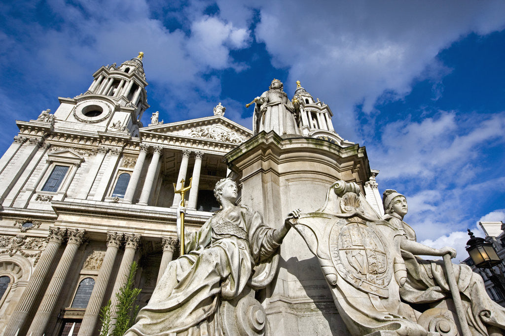 Detail of St. Paul's Cathedral and the Queen Anne Statue by Corbis
