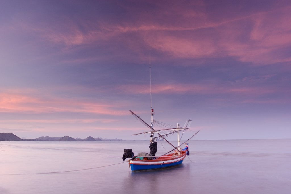 Detail of Fishing Boat at Sunset in Gulf of Thailand by Corbis