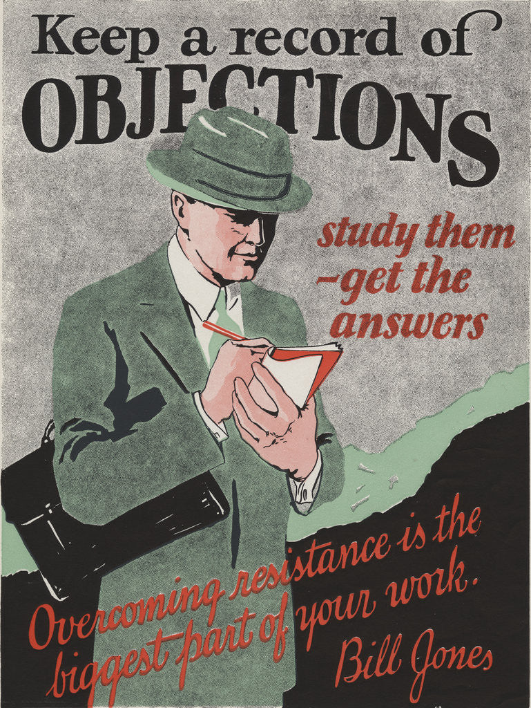 Detail of Keep a Record of Objections Motivational Poster by Corbis