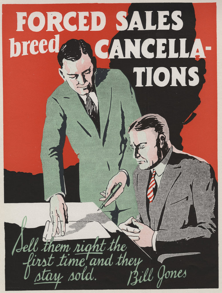Detail of Forced Sales Breed Cancellations Motivational Poster by Corbis