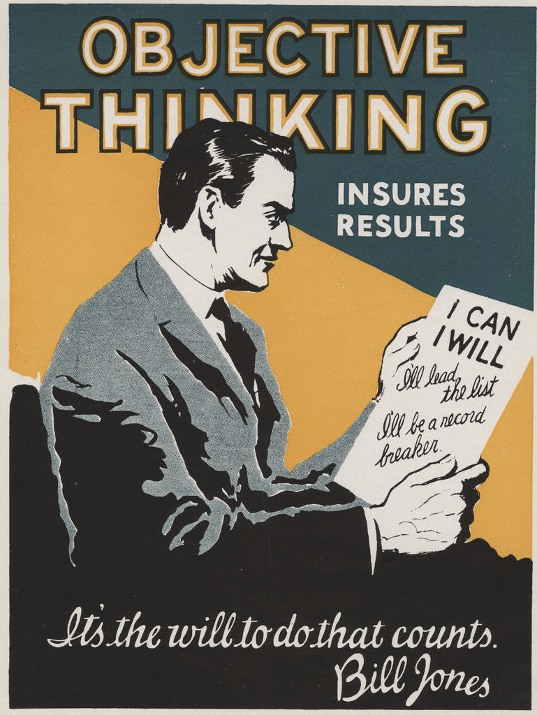 Detail of Objective Thinking Insures Results Motivational Poster by Corbis