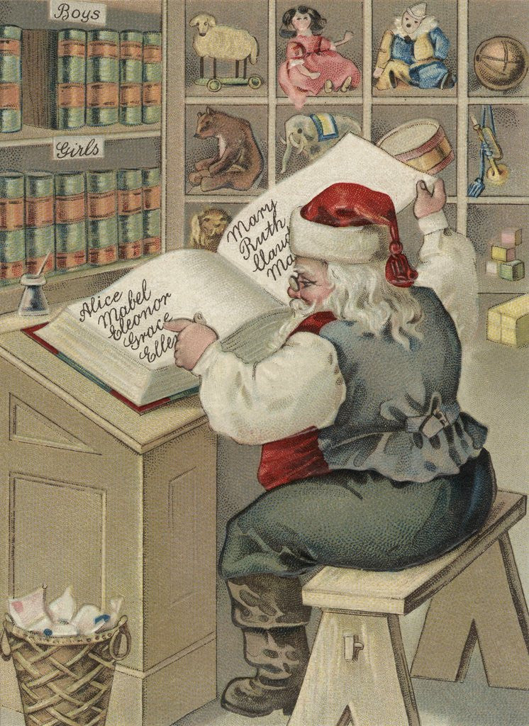 Detail of Christmas Postcard with Santa Checking Book of Names by Corbis
