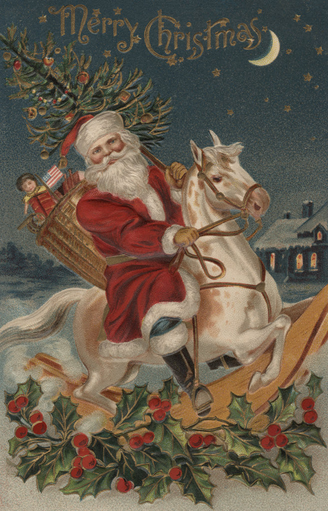 Christmas Horse Pictures.Merry Christmas Postcard With Santa On Rocking Horse