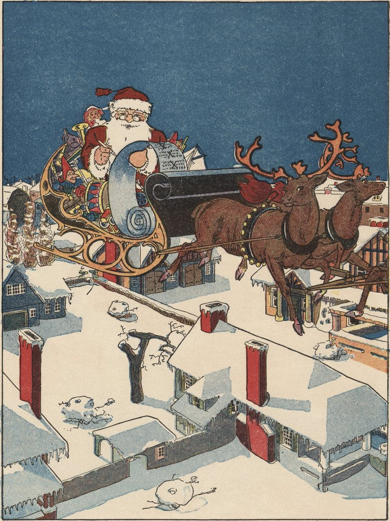 Detail of Illustration of Santa Checking His List in His Sleigh by Corbis