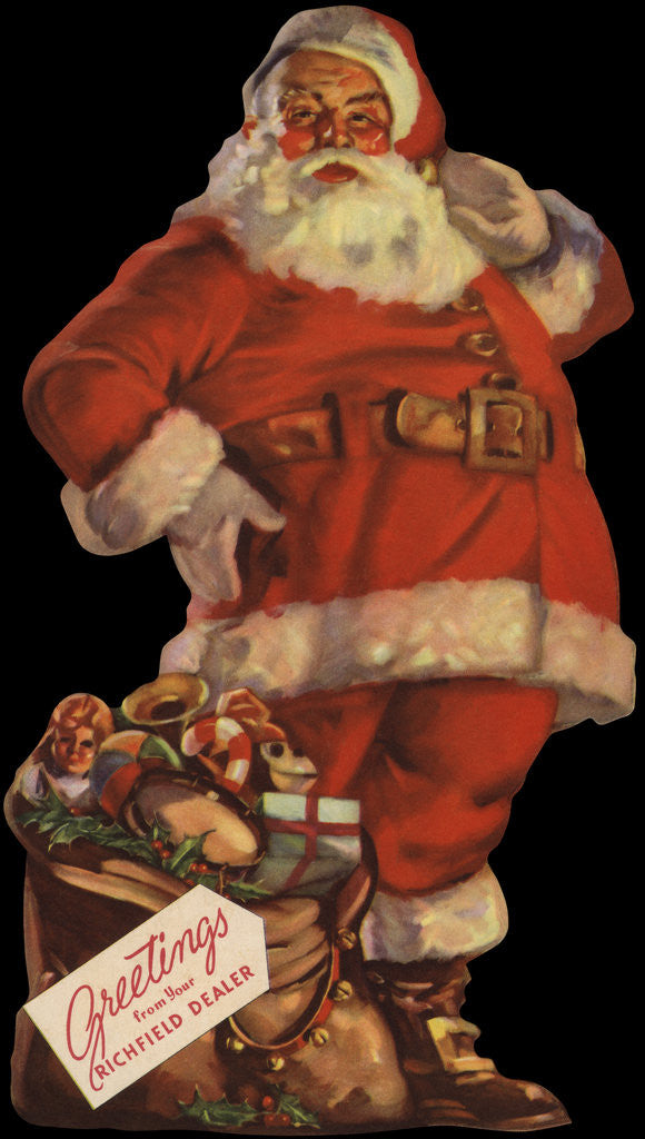 Detail of Illustration of Santa with Bag of Toys by Corbis