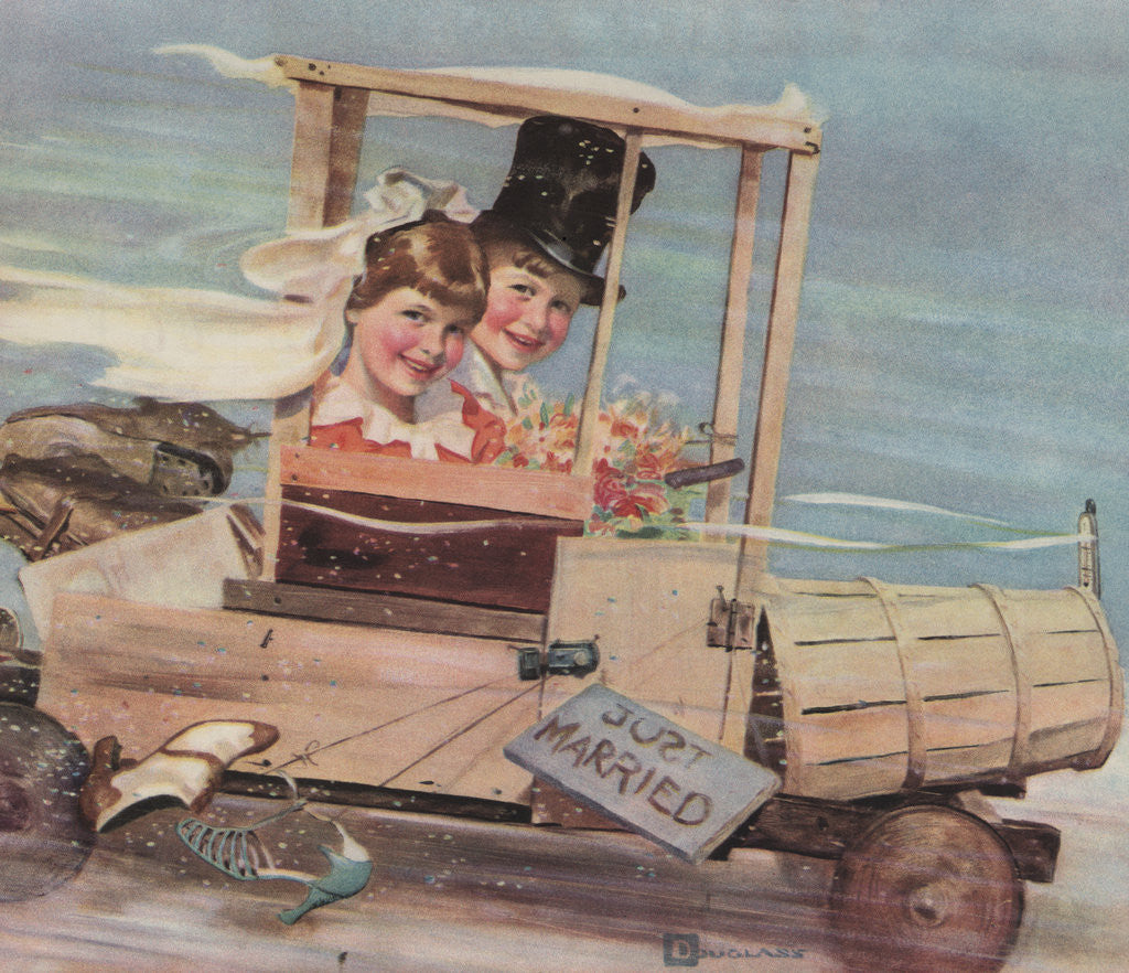 Detail of Illustration of Young Couple in a Soap Box Car by Douglass Crockwell