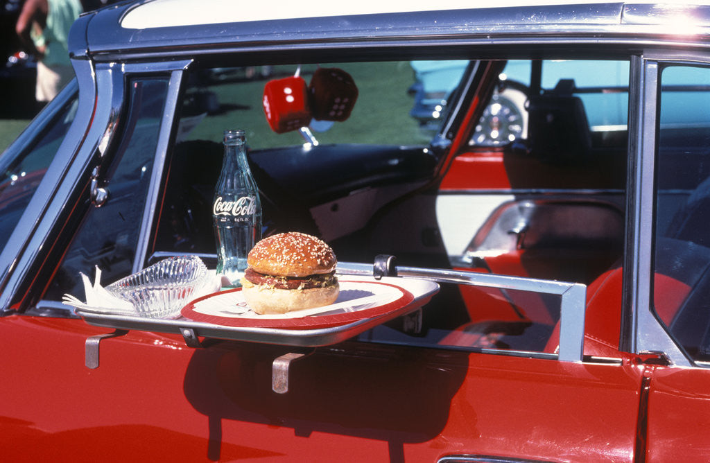 Detail of Food Tray On Antique Car Window by Corbis