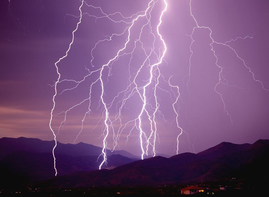 Detail of Lightning Strikes in the Foothills near Tucson by Corbis