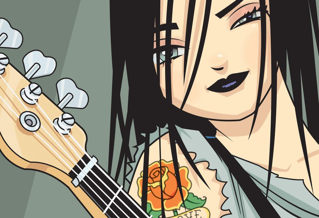 Detail of Girl with Guitar by Corbis