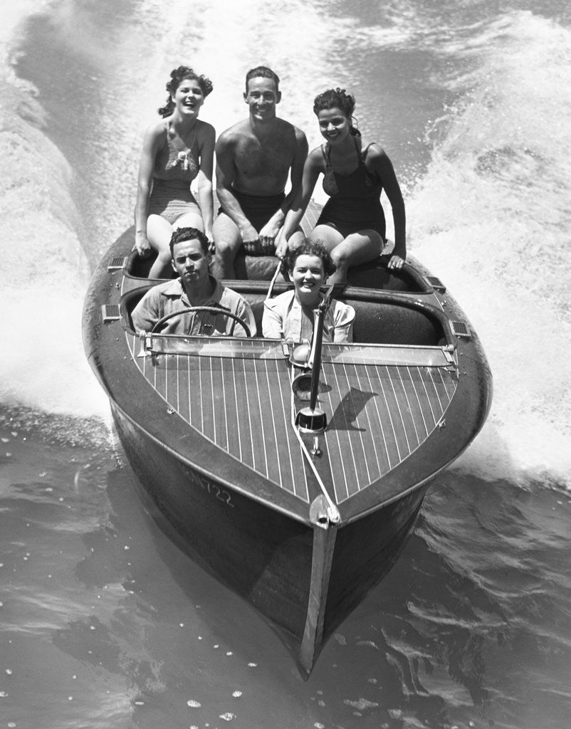 Detail of 1930s Couples Five Men And Women Riding In Runabout Power Boat by Corbis