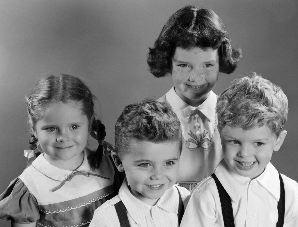 1950s Portrait Of Four Children Two Boys And Two Girls