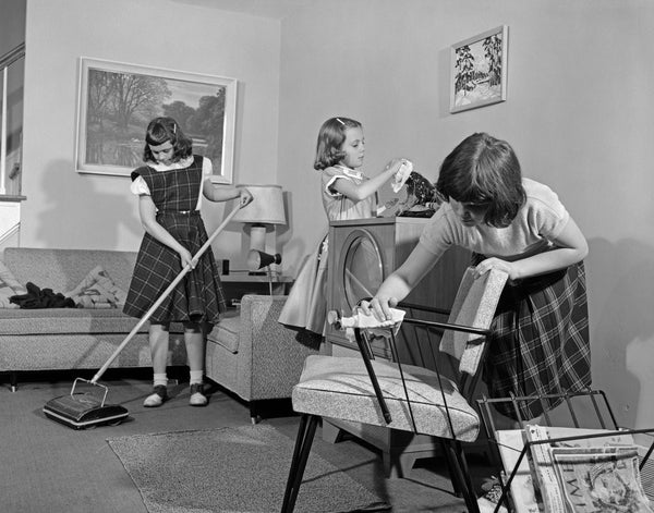 1950s Three Pre Teen Young Girls Cleaning Living Room