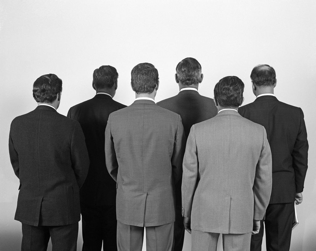 Detail of 1960s Backview Of Six Business Men by Corbis