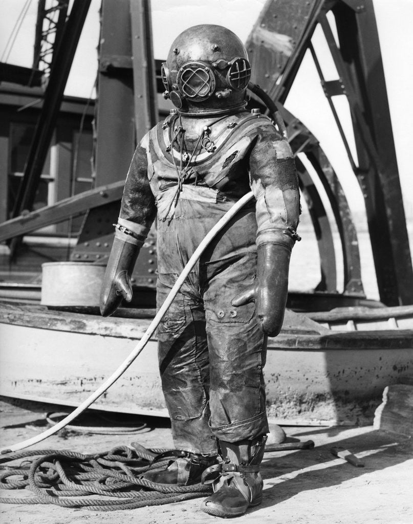 Detail of 1930s 1940s Full Figure Of Man In Underwater Diving Suit by Corbis