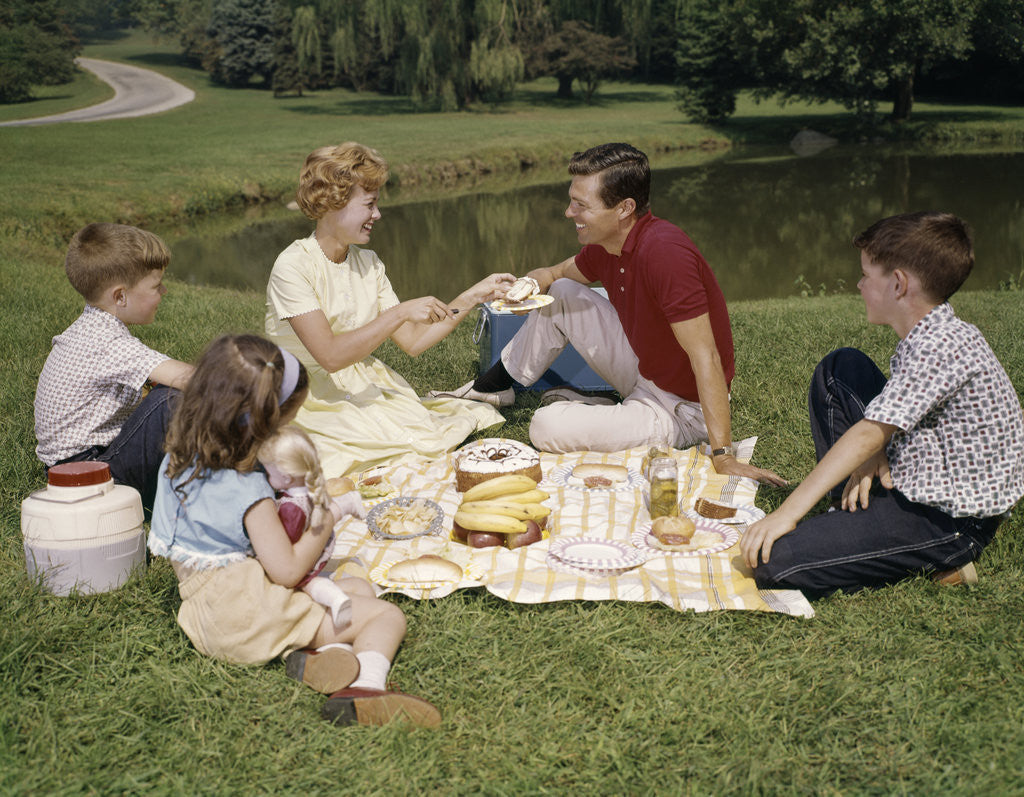 Detail of 1960s Family Mother Father Daughter And Two Sons Picnicking In Park Outdoor by Corbis