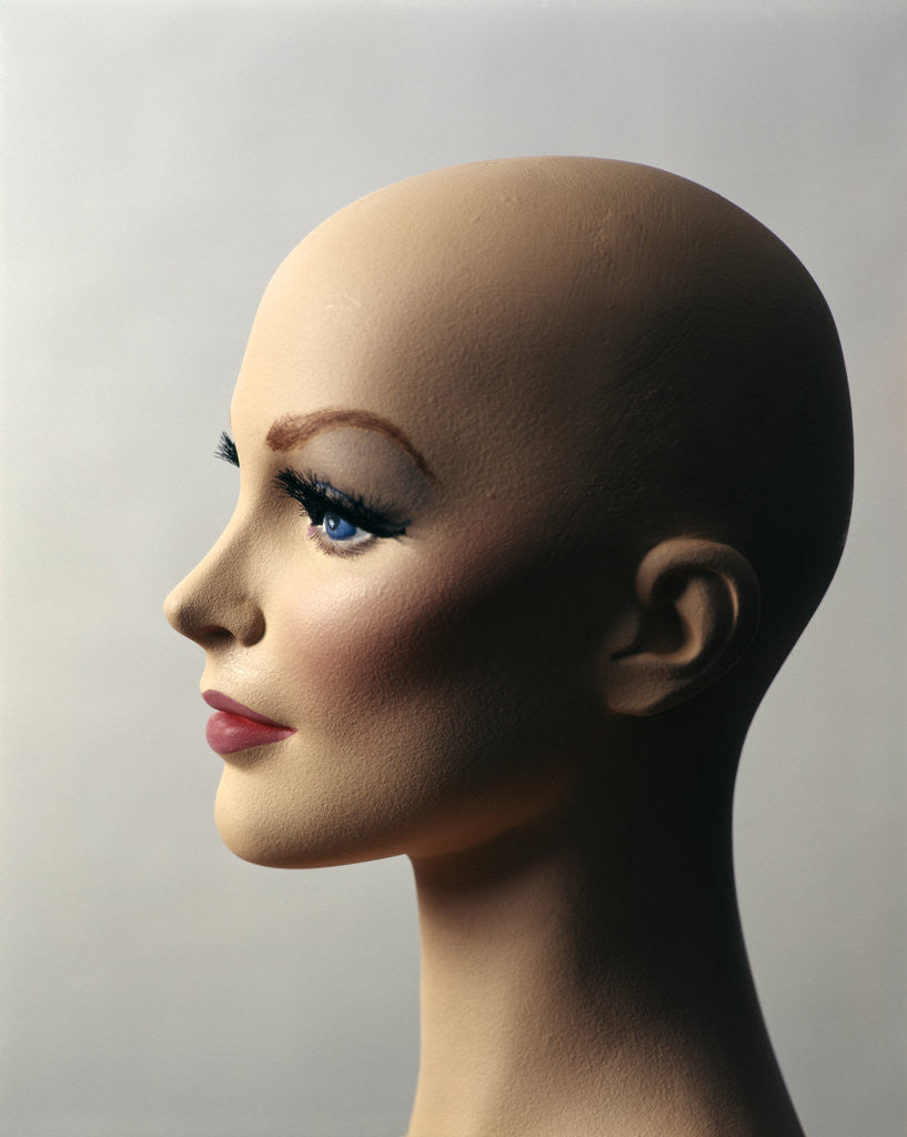 Detail of 1970s Profile Of Bald Female Mannequin Head by Corbis