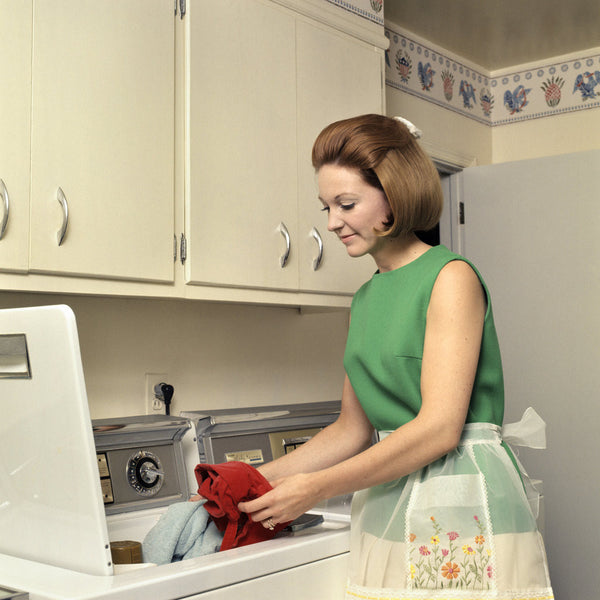 1970s Woman Housewife Homemaker Wearing Apron Loading