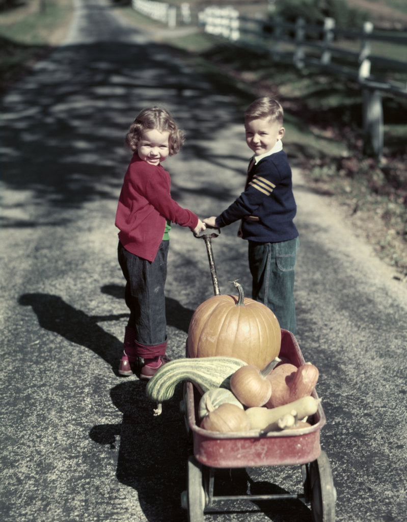 Detail of 1950s Kids In Blue Jeans Pulling Red Wagon Full Of Pumpkins by Corbis
