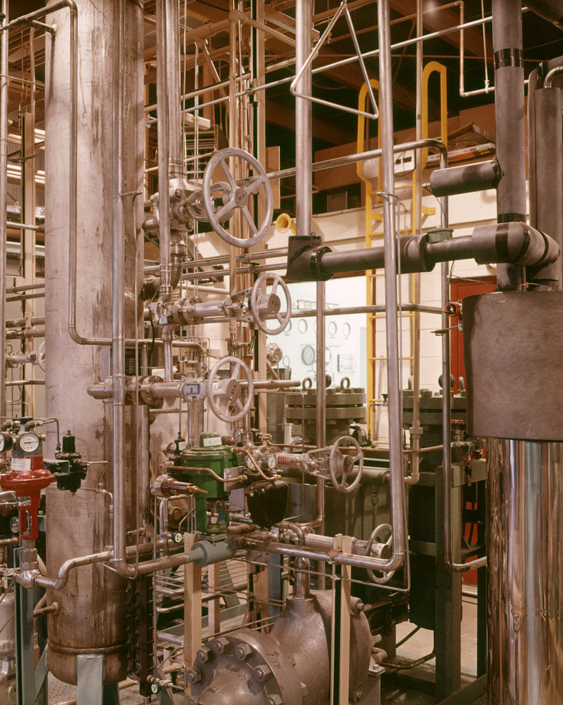 Detail of 1970s Interior Atomic Power Plant Maze Of Pipes Piping Valves Gauges Nuclear Energy Industry by Corbis